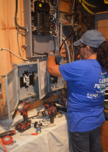 Melissa Lizama completing electrical work