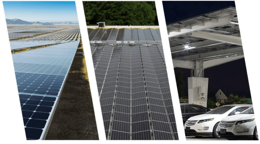 tri-panel of solar panels