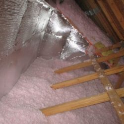 Sky-flex being used as an air-thermal boundary for attic knee walls